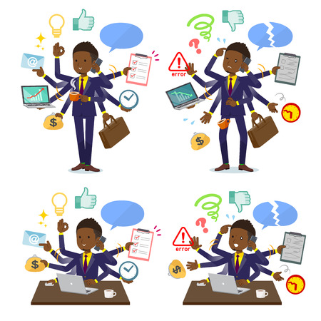 A set of African American businessman who perform multitasking in the office.There are things to do smoothly and a pattern that is in a panic.It's vector art so it's easy to edit. 矢量图像