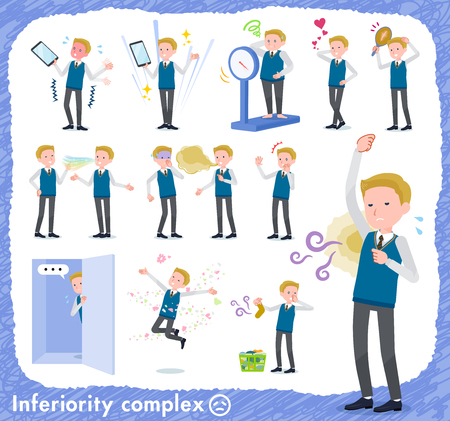A set of school boy on inferiority complex.There are actions suffering from smell and appearance.It's vector art so it's easy to edit.