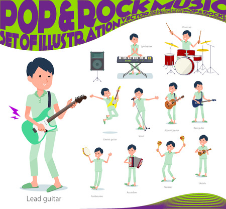 A set of patient man playing rock 'n' roll and pop music.There are also various instruments such as ukulele and tambourine.It's vector art so it's easy to edit.