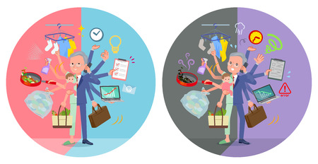 A set of patient old man who perform multitasking in offices and private.There are things to do smoothly and a pattern that is in a panic.It's vector art so it's easy to edit. Vecteurs