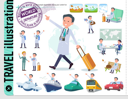 A set of doctor man on travel.There are also vehicles such as boats and airplanes.It's vector art so it's easy to edit.