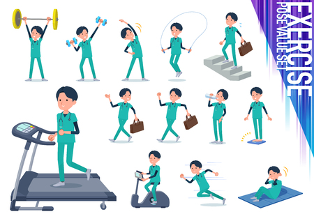 A set of Doctor man on exercise and sports.There are various actions to move the body healthy.It's vector art so it's easy to edit.