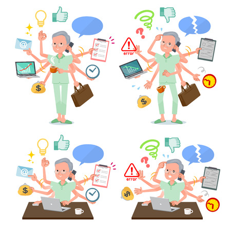 A set of patient old man who perform multitasking in the office.There are things to do smoothly and a pattern that is in a panic.Its vector art so its easy to edit.