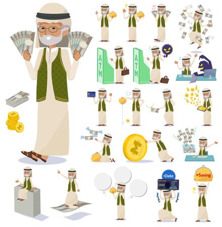 Un ensemble de vieillards arabes avec de l'argent et de l'économie. Il y a aussi des actions sur le succès et l'échec. C'est de l'art vectoriel, il est donc facile à modifier.