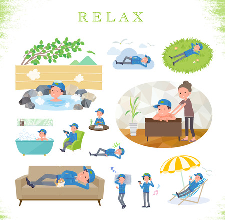 A set of Delivery man about relaxing.There are actions such as vacation and stress relief.Its vector art so its easy to edit.