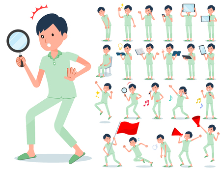 A set of patient man with digital equipment such as smartphones.There are actions that express emotions.It's vector art so it's easy to edit.