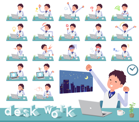 A set of Store stuff man on desk work.There are various actions such as feelings and fatigue.Its vector art so its easy to edit. Illustration