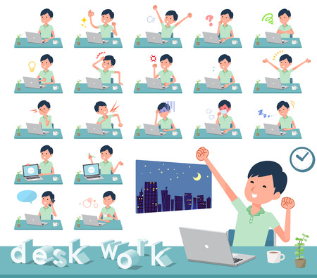 A set of patient man on desk work.There are various actions such as feelings and fatigue.Its vector art so its easy to edit.