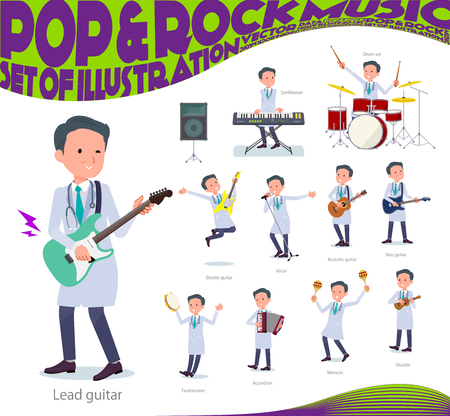 A set of doctor man playing rock n roll and pop music.There are also various instruments such as ukulele and tambourine.Its vector art so its easy to edit.