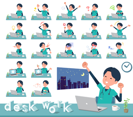 A set of Doctor man on desk work.There are various actions such as feelings and fatigue.Its vector art so its easy to edit.