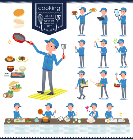 A set of Delivery man about cooking.There are actions that are cooking in various ways in the kitchen.It's vector art so it's easy to edit. Ilustração