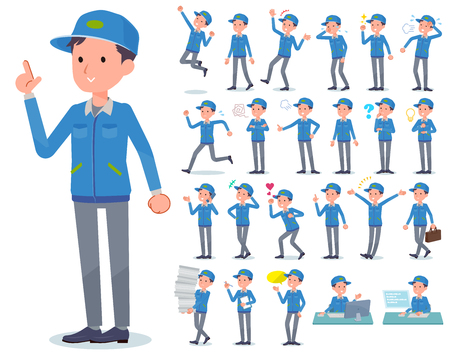 A set of Delivery man with who express various emotions.There are actions related to workplaces and personal computers.It's vector art so it's easy to edit. Vektorové ilustrace