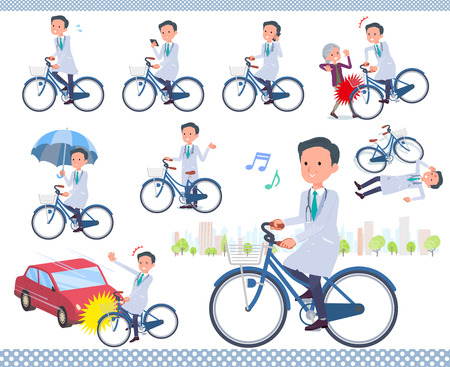 A set of doctor man riding a city cycle.There are actions on manners and troubles.It's vector art so it's easy to edit. Vectores