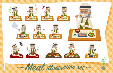 A set of Arabian old man about meals.Japanese and Chinese cuisine, Western style dishes and so on.Its vector art so its easy to edit.
