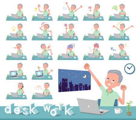 A set of patient old man on desk work.There are various actions such as feelings and fatigue.Its vector art so its easy to edit.