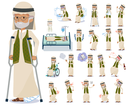 A set of Arabian old man with injury and illness.There are actions that express dependence and death.It's vector art so it's easy to edit.