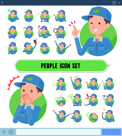 A set of Delivery man with expresses various emotions on the SNS screen.There are variations of emotions such as joy and sadness.It's vector art so it's easy to edit.