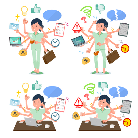 A set of patient man who perform multitasking in the office.There are things to do smoothly and a pattern that is in a panic.Its vector art so its easy to edit.