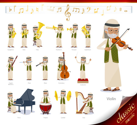 A set of Arabian old man on classical music performances.There are actions to play various instruments such as string instruments and wind instruments.Its vector art so its easy to edit.