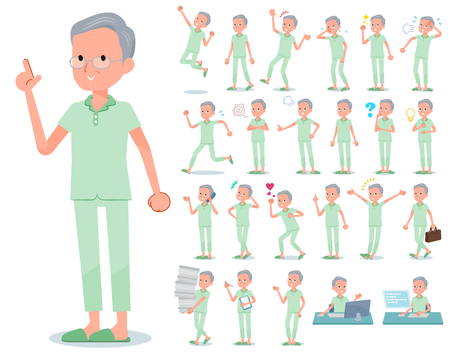 A set of patient old man with who express various emotions.There are actions related to workplaces and personal computers.It's vector art so it's easy to edit.