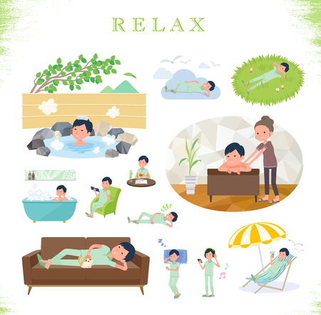 A set of patient man about relaxing.There are actions such as vacation and stress relief.Its vector art so its easy to edit.