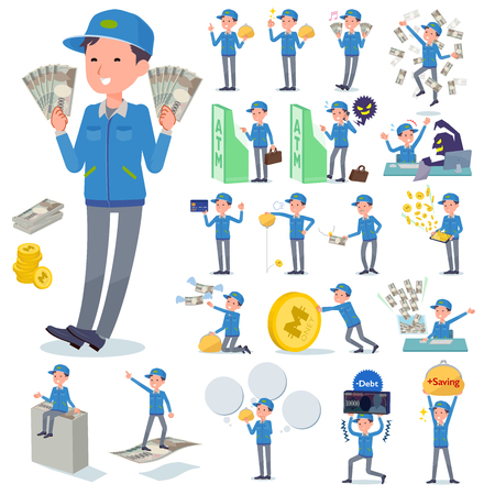 A set of Delivery man with concerning money and economy.There are also actions on success and failure.It's vector art so it's easy to edit.