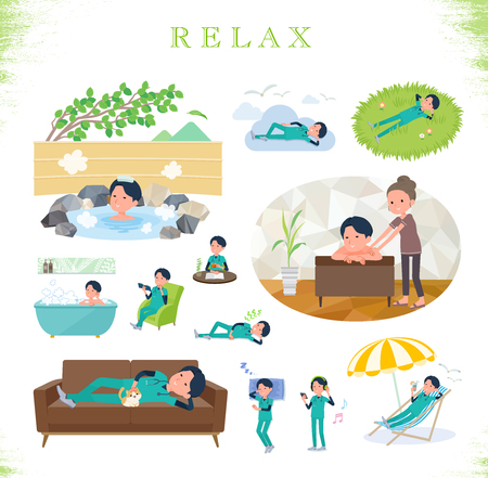 A set of Doctor man about relaxing.There are actions such as vacation and stress relief.Its vector art so its easy to edit.