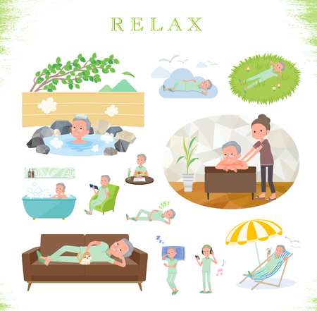 A set of patient old man about relaxing.There are actions such as vacation and stress relief.Its vector art so its easy to edit.