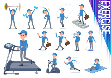 A set of Delivery man on exercise and sports.There are various actions to move the body healthy.It's vector art so it's easy to edit.