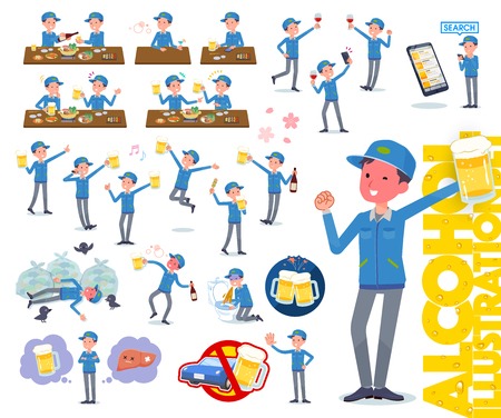 A set of Delivery man related to alcohol.There is a lively appearance and action that expresses failure about alcohol.Its vector art so its easy to edit.