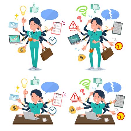 Eine Reihe von Ärzten, die im Büro Multitasking durchführen. Es gibt Dinge, die reibungslos erledigt werden müssen, und ein Muster, das in Panik gerät. Vektorgrafik