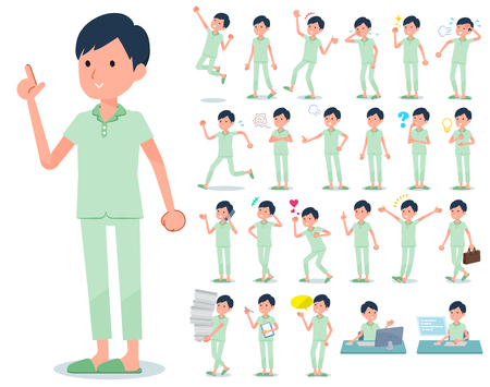 A set of patient man with who express various emotions.There are actions related to workplaces and personal computers.It's vector art so it's easy to edit.