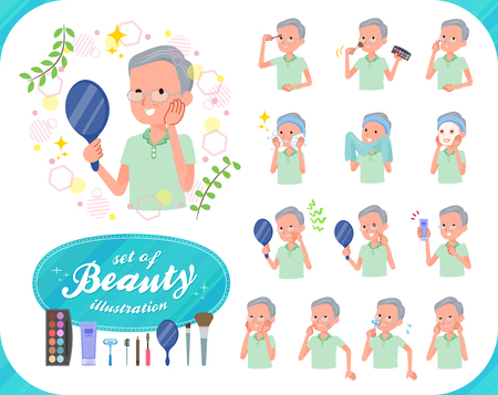 A set of patient old man on beauty.There are various actions such as skin care and makeup.It's vector art so it's easy to edit. Ilustracja