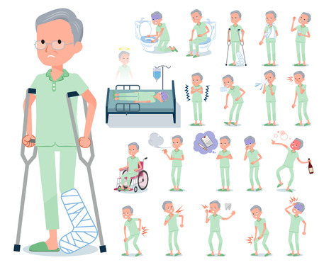 A set of patient old man with injury and illness.There are actions that express dependence and death.It's vector art so it's easy to edit.