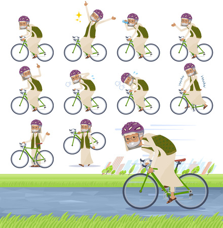 A set of Arabian old man on a road bike.There is an action that is enjoying.It's vector art so it's easy to edit. Ilustração