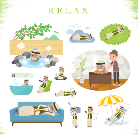 A set of Arabian old man about relaxing.There are actions such as vacation and stress relief.Its vector art so its easy to edit.