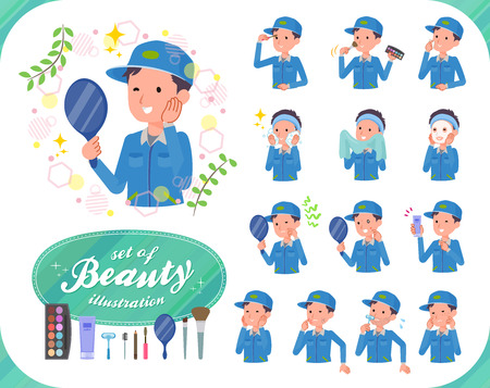 A set of Delivery man on beauty.There are various actions such as skin care and makeup.It's vector art so it's easy to edit.