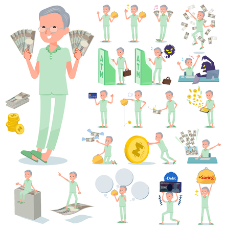 A set of patient old man with concerning money and economy.There are also actions on success and failure.It's vector art so it's easy to edit.