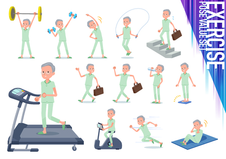 A set of patient old man on exercise and sports.There are various actions to move the body healthy.It's vector art so it's easy to edit. Vettoriali