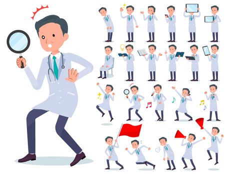 A set of doctor man with digital equipment such as smartphones.There are actions that express emotions.It's vector art so it's easy to edit. 일러스트