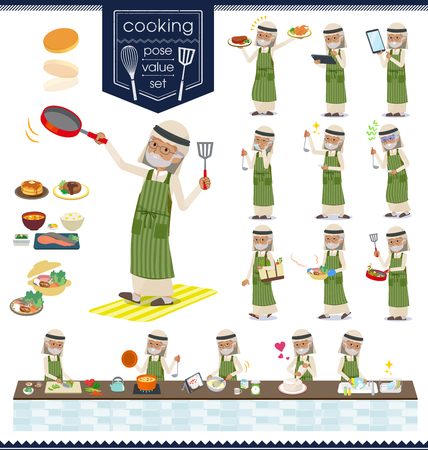 A set of Arabian old man about cooking.There are actions that are cooking in various ways in the kitchen.It's vector art so it's easy to edit.