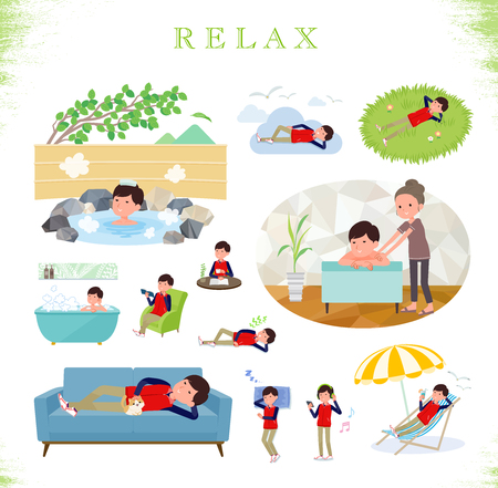 A set of Store stuff man about relaxing.There are actions such as vacation and stress relief.Its vector art so its easy to edit.  イラスト・ベクター素材