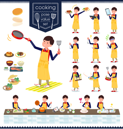 A set of Store stuff man about cooking.There are actions that are cooking in various ways in the kitchen.Its vector art so its easy to edit. Illustration