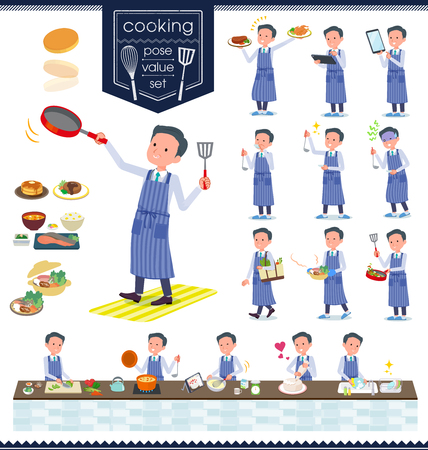 A set of doctor man about cooking.There are actions that are cooking in various ways in the kitchen.It's vector art so it's easy to edit. Ilustração