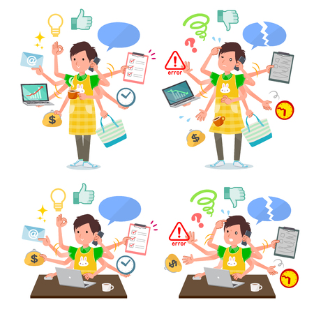 A set of Childminder man who perform multitasking in the office.There are things to do smoothly and a pattern that is in a panic.Its vector art so its easy to edit. 일러스트