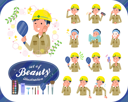 A set of working man on beauty.There are various actions such as skin care and makeup.It's vector art so it's easy to edit.