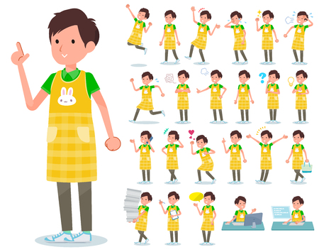 A set of Childminder man with who express various emotions.There are actions related to workplaces and personal computers.It's vector art so it's easy to edit. Ilustración de vector