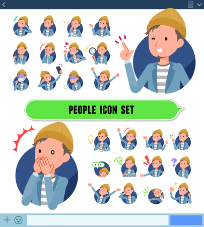 A set of young man with expresses various emotions on the SNS screen.There are variations of emotions such as joy and sadness.It's vector art so it's easy to edit.
