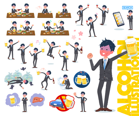 A set of bad condition businessman related to alcohol.There is a lively appearance and action that expresses failure about alcohol.It's vector art so it's easy to edit.