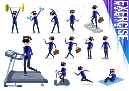 A set of men wearing virtual reality goggles on exercise and sports.There are various actions to move the body healthy.It's vector art. Vettoriali